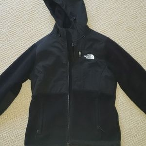 Womens Black North Face jacket with hood